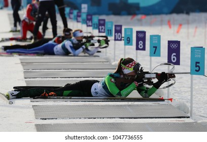 PYEONGCHANG, SOUTH KOREA - FEBRUARY 15, 2018: Olympic champion Darya Domracheva of Belarus competes in biathlon Women's 15km Individual at the 2018 Winter Olympics in Alpensia Biathlon Centre