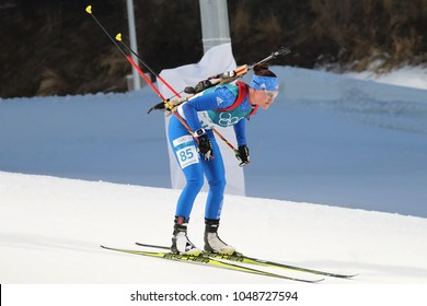 PYEONGCHANG, SOUTH KOREA - FEBRUARY 15, 2018: Joanne Firesteel Reid of the United States competes in biathlon Women`s 15km Individual at the 2018 Winter Olympics in Alpensia Biathlon Centre