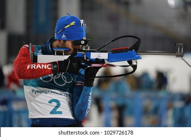 PYEONGCHANG, SOUTH KOREA  FEBRUARY 18, 2018: Olympic champion Martin Fourcade of France competes in the biathlon men's 15km mass start at the 2018 Winter Olympics in Alpensia Biathlon Centre