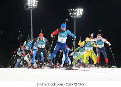 PYEONGCHANG, SOUTH KOREA  FEBRUARY 18, 2018: Olympic champion Martin Fourcade of France (2) competes in the biathlon men`s 15km mass start at the 2018 Winter Olympics in Alpensia Biathlon Centre