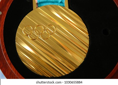 Pyeongchang, South Korea - February 21, 2018: Gold medal of the winter Olympic games in PyeongChang 2018