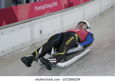 PYEONGCHANG, SOUTH KOREA - FEBRUARY 8, 2018: Anton Dukach of Ukraine competes in the Men's Singles Luge Training at the 2018 Winter Olympics in PyeongChang, South Korea