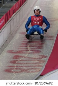 PYEONGCHANG, SOUTH KOREA - FEBRUARY 8, 2018: Kevin Fischnaller of Italy competes in the Men's Singles Luge Training at the 2018 Winter Olympics in PyeongChang, South Korea
