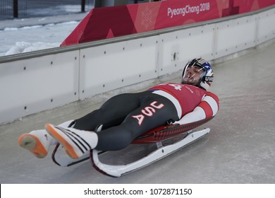 PYEONGCHANG, SOUTH KOREA - FEBRUARY 8, 2018: Chris Mazdzer of United States competes in the Men's Singles Luge Training at the 2018 Winter Olympics in PyeongChang, South Korea