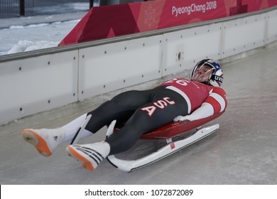 PYEONGCHANG, SOUTH KOREA - FEBRUARY 8, 2018: Tucker West of United States competes in the Men's Singles Luge Training at the 2018 Winter Olympics in PyeongChang, South Korea