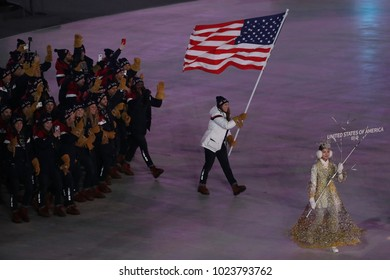 PYEONGCHANG, SOUTH KOREA – FEBRUARY 9, 2018: American Olympic team marched into the PyeongChang 2018 Olympics opening ceremony at Olympic  Stadium in PyeomgChang, South Korea