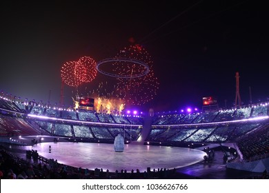 PYEONGCHANG, SOUTH KOREA - FEBRUARY 9, 2018: The 2018 Winter Olympics Opening Ceremony. Olympic Games 2018 officially opened with a colorful ceremony at the Olympics Stadium in PyeongChang,South Korea