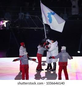PYEONGCHANG, SOUTH KOREA - FEBRUARY 9, 2018: United Olympic team Korea marched into the PyeongChang 2018 Olympics opening ceremony at Olympic Stadium in PyeongChang, South Korea