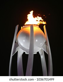 PYEONGCHANG, SOUTH KOREA - FEBRUARY 9, 2018: The Olympic flame burns in the PyeongChang Olympic stadium during the opening ceremony at the 2018 Winter Olympics