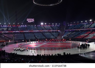 PYEONGCHANG, SOUTH KOREA - FEBRUARY 9, 2018: Speed skater Elena Moller Rigas carrying the Flag of Denmark leading the Denmark Olympic team at the PyeongChang 2018 Winter Olympic Games opening ceremony