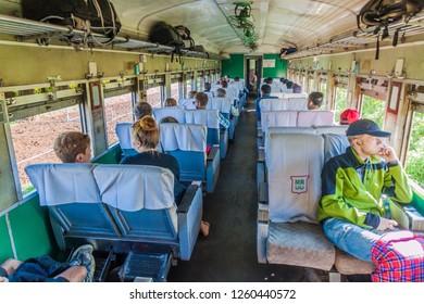 PYIN OO LWIN, MYANMAR - NOVEMBER 30, 2016: Upper class of Mandalay - Hsipaw train, Myanmar