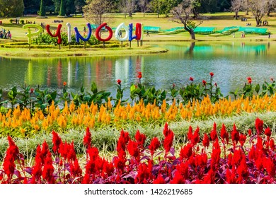 PYIN OO LWIN, MYANMAR - NOVEMBER 29, 2016: Large text with the name of the town in National Kandawgyi Botanical gardens in Pyin Oo Lwin, Myanmar
