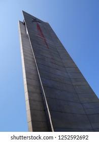 The pylon with broken red star on old socialist building Buzludzha, Bulgaria