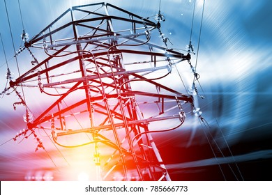 Pylon. Concept of electricity and energy.
