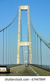 Pylon of the longest European Suspension bridge (Storebaeltsbroen) between the Danish islands of Zealand and Funen