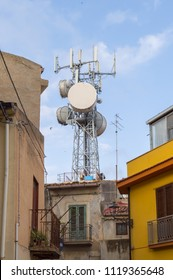 Pylon of parabolas and antennas of GSM in the city of Santo Stefano di Camastra in the north of Sicily