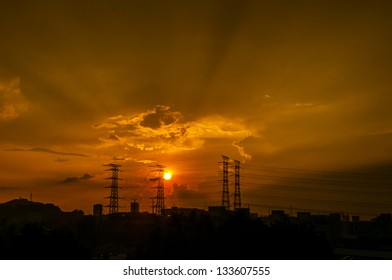 Pylon with sunset background.