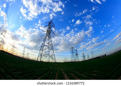 Pylon, the pylon under the blue sky white clouds