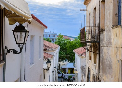 PYLOS, MESSENIA, GREECE - MAY 2018: Architectural Neo-Classical buildings in Pylos town. Pylos has a long history and now has become a top tourist destination in Greece, Europe.