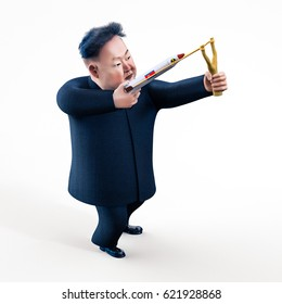 Pyongyang, APRIL 11, 2017: North Korea threatens to use nuclear weapons. Character portrait of Kim Jong Un. 3D illustration