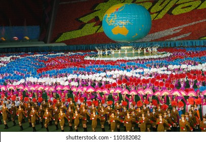 PYONGYANG - AUGUST 8, 2012: Biggest show in the world - Ariran Festival with the 150,000 people in the Pyongyang capital of North Korea, 100th Anniversary, August 8, 2012, North Korea