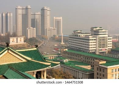 Pyongyang / DPR Korea - November 10, 2015: modern buildings in central Pyongyang, North Korea