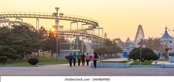 Pyongyang / DPR Korea - November 10, 2015: The Mangyongdae Funfair amusement park located in Mangyongdae-guyok in Pyongyang, North Korea