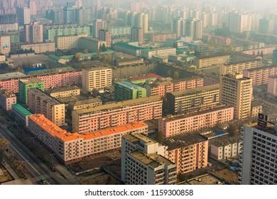 Pyongyang / DPR Korea - November 10th 2015: colorful apartment blocks in Pyongyang, North Korea