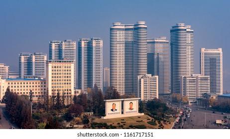 Pyongyang / DPR Korea - November 10th 2015: modern buildings in central Pyongyang, North Korea
