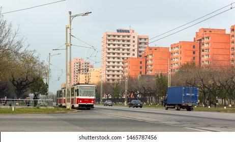 Pyongyang / DPR Korea - November 11, 2015: Old Tatra T6B5 Czechoslovak-built public tram in Pyongyang, the capital of the North Korea