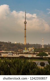 Pyongyang / DPR Korea - November 11th 2015: Pyongyang TV Tower with an observation deck (150 m) in Pyongyang, North Korea. It broadcasts signals for Korean Central Television.