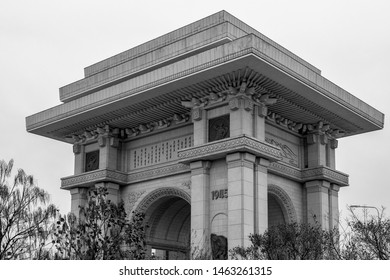 Pyongyang / DPR Korea - November 11th 2015: The Arch of Triumph is a triumphal arch in Pyongyang, North Korea, built to commemorate the Korean resistance to Japan from 1925 to 1945.