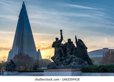 Pyongyang / DPR Korea - November 12, 2015: The Ryugyong Hotel is an unfinished 105 story, 330 meter tall pyramid shaped skyscraper in Pyongyang and the tallest structure in North Korea