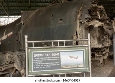 Pyongyang / DPR Korea - November 12, 2015: Shot down Douglas AD4 Skyraider aircraft of US Air Force displayed in the Victorious War Museum dedicated to the Korean War in Pyongyang, North Korea