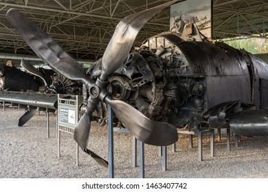 Pyongyang / DPR Korea - November 12, 2015: Shot down Douglas AD-2 Skyraider aircraft of US Air Force displayed in the Victorious War Museum dedicated to the Korean War in Pyongyang, North Korea