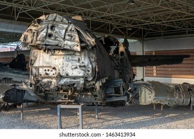 Pyongyang / DPR Korea - November 12, 2015: Shot down US Air Force aircraft displayed in the Victorious War Museum dedicated to the Korean War in Pyongyang, North Korea