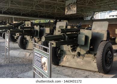 Pyongyang / DPR Korea - November 12, 2015: Captured US Army M2 105mm howitzers displayed in the Victorious War Museum dedicated to the Korean War in Pyongyang, North Korea