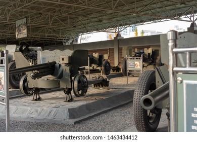 Pyongyang / DPR Korea - November 12, 2015: Captured US Army howitzers displayed in the Victorious War Museum dedicated to the Korean War in Pyongyang, North Korea