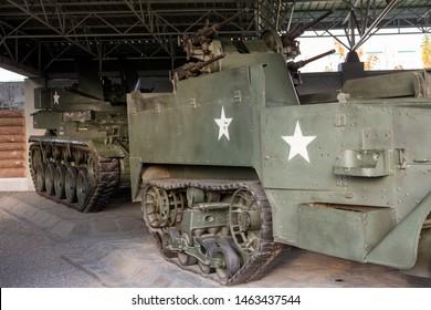 Pyongyang / DPR Korea - November 12, 2015: Captured US Army military equipment displayed in the Victorious War Museum dedicated to the Korean War in Pyongyang, North Korea