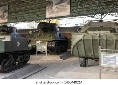 Pyongyang / DPR Korea - November 12, 2015: Captured US Army armored vehicles displayed in the Victorious War Museum dedicated to the Korean War in Pyongyang, North Korea