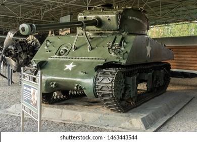 Pyongyang / DPR Korea - November 12, 2015: Captured US Army M4 Sherman Tank displayed in the Victorious War Museum dedicated to the Korean War in Pyongyang, North Korea