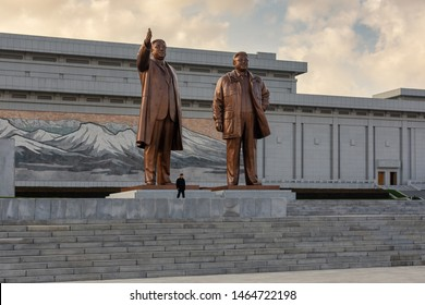 Pyongyang / DPR Korea - November 12, 2015: Bronze statues of deceased supreme North Korean leaders Kim Il-sung and Kim Jong-il at The Grand Monument on Mansu Hill in Pyongyang, North Korea