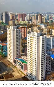 Pyongyang / DPR Korea - November 12, 2015: Cityscape view of Pyongyang, capital of North Korea