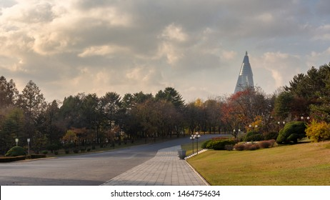 Pyongyang / DPR Korea - November 12, 2015: The Ryugyong Hotel, an unfinished 105 story, 330 meter tall pyramid shaped skyscraper, dominating the cityscape of Pyongyang, North Korea