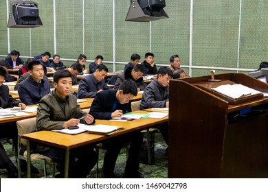 Pyongyang / DPR Korea - November 12, 2015: Students learning English language at the Grand People's Study House, an educational center open to all North Koreans, Pyongyang, North Korea.