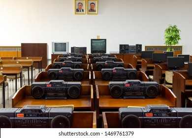 Pyongyang / DPR Korea - November 12, 2015: Rows of cassette players in a classroom at the Grand People's Study House, an educational center open to all North Koreans, Pyongyang, North Korea.