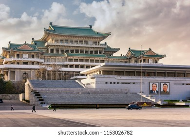 Pyongyang / DPR Korea - November 12th 2015: The Grand People's Study House situated on Kim Il-sung Square, Pyongyang, DPR Korea.
