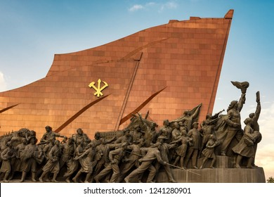 Pyongyang / DPR Korea - November 12th 2015: bronze statues at the Grand Monument on Mansu Hill in Pyongyang