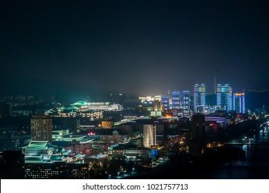 Pyongyang night skyline lights