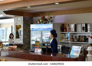 Pyongyang, North Korea - April 29, 2019: Airport bar in the Pyongyang International Airport also known as the Pyongyang Sunan International Airport, is the main airport serving Pyongyang